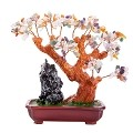 Stunning Feng Shui Mix Gemstone Quartz Bonsai Money Tree