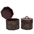 Vintage Style Embossed Flower Pattern Wooden Octagon Jewelry Treasure Box Storage Organizer Trinket Keepsake Chest Set of 2