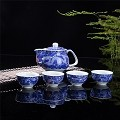 Exquisite 5 PCS Blue-And-White Dragon Design Ceramic Tea Pot Tea Cups Set In Beautiful Color Gift Box