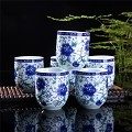 Set Of 6 Eastern Asian Design Ceramic Tea Cups In Blue-And-White Peony - 8 OZ  Capacity Each