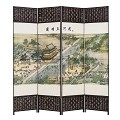 THY COLLECTIBLES Decorative Freestanding Woven Bamboo & Canvas Print 4 Panels Hinged Panel Screen Portable Folding Room Divider (Riverside Festival)