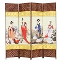 THY COLLECTIBLES Decorative Freestanding Woven Bamboo & Canvas Print 4 Panels Hinged Panel Screen Portable Folding Room Divider (Four Beauties)