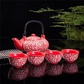 Contemporary Art Decor Porcelain 5 PCS Tea Set Teapot Teacup Kanji Calligraphy Red